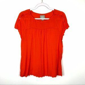 Maeve | Orange Swiss Dot Blouse Size 10
